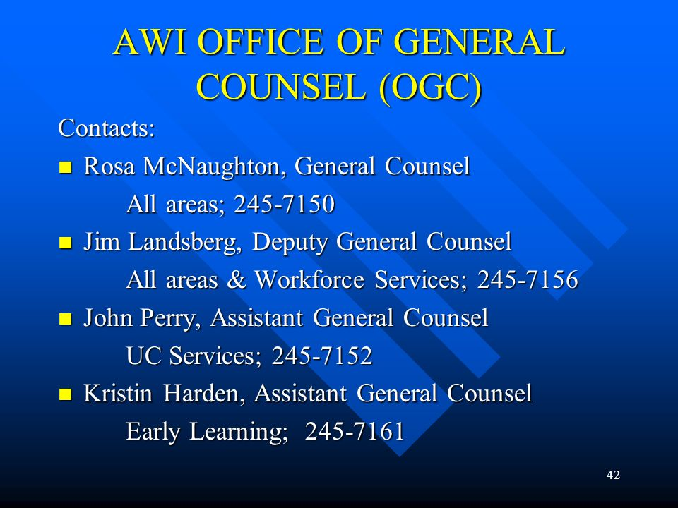 AWI OFFICE OF GENERAL COUNSEL (OGC)