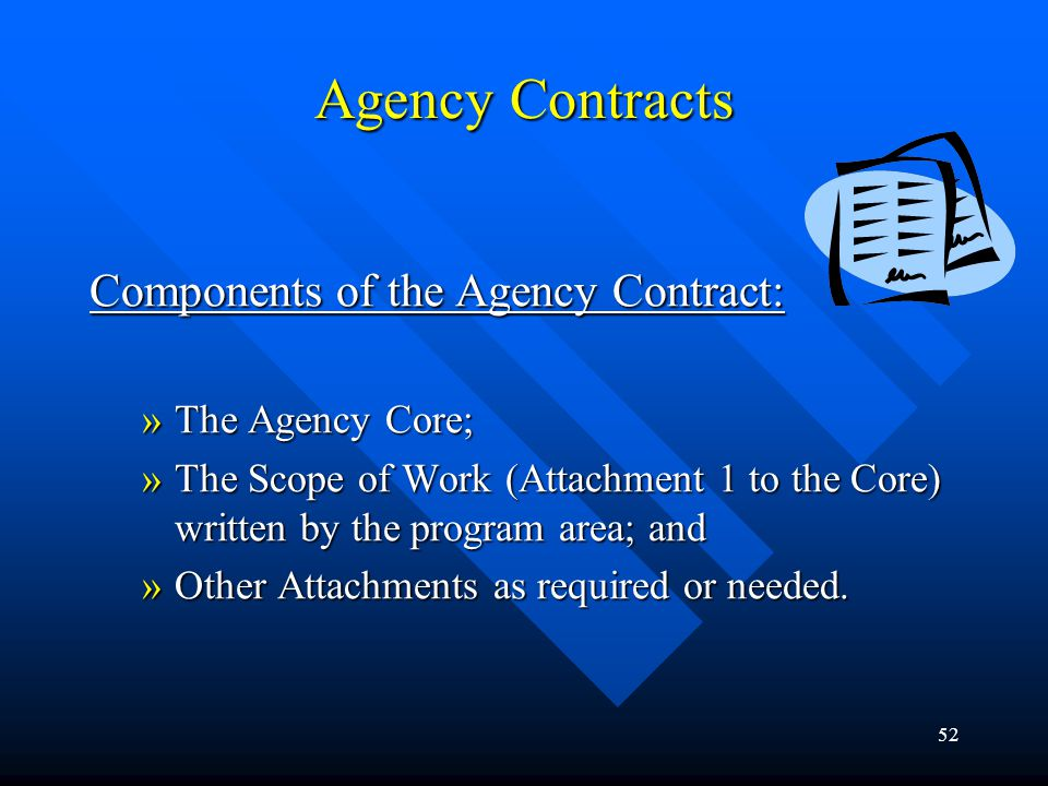 Agency Contracts Components of the Agency Contract: The Agency Core;