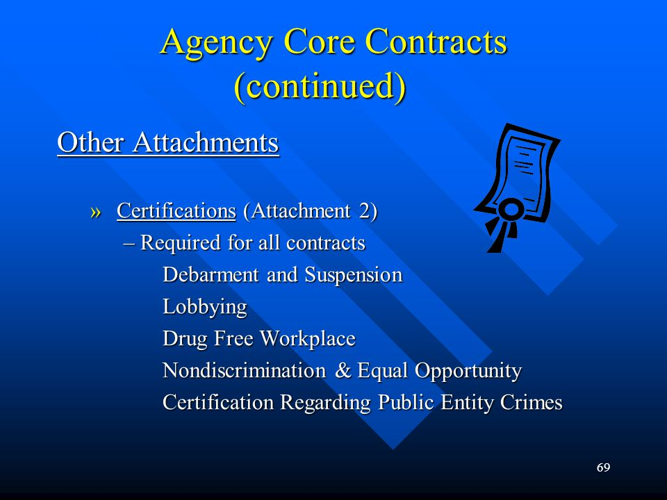 Agency Core Contracts (continued)