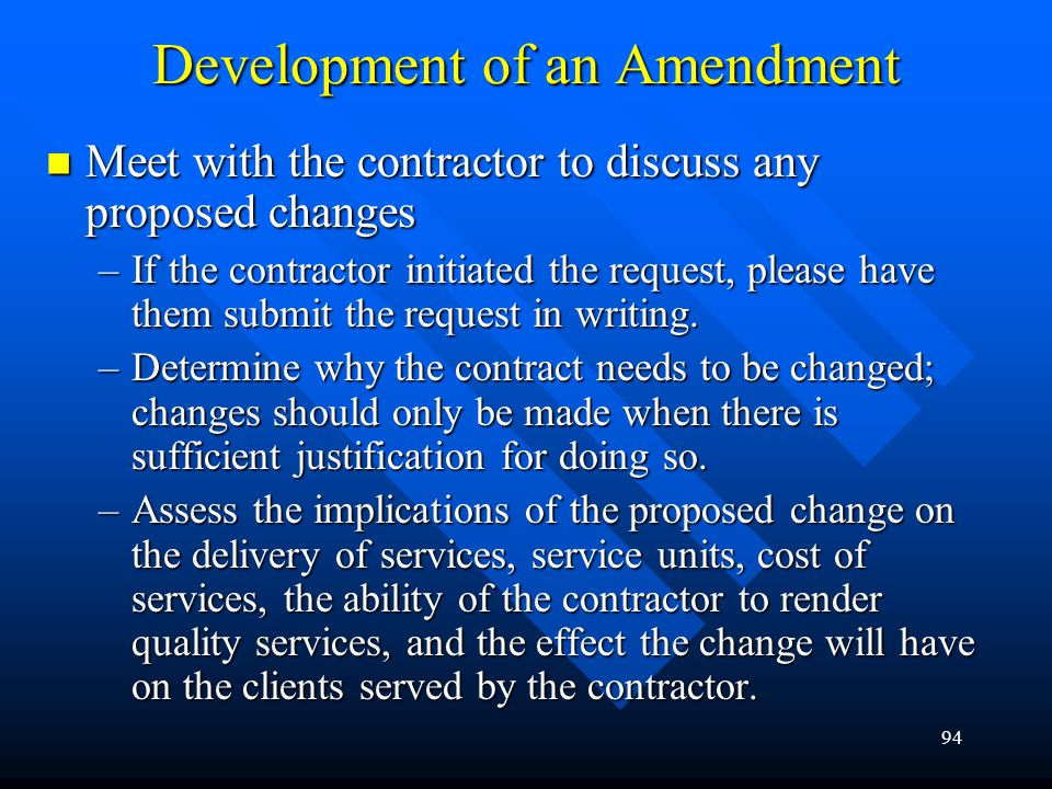 Development of an Amendment