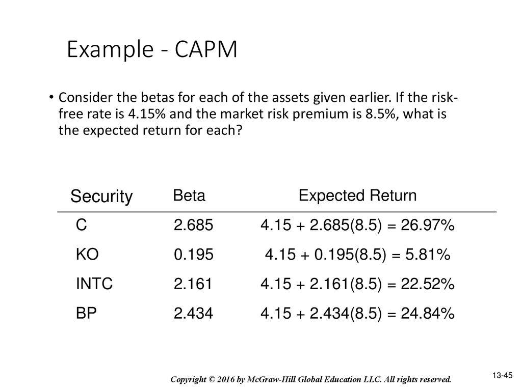 RETURN, RISK, AND THE SECURITY MARKET LINE   ppt download