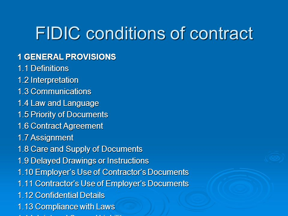 FIDIC conditions of contract