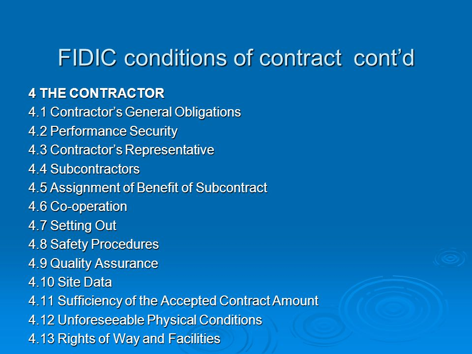 FIDIC conditions of contract cont'd