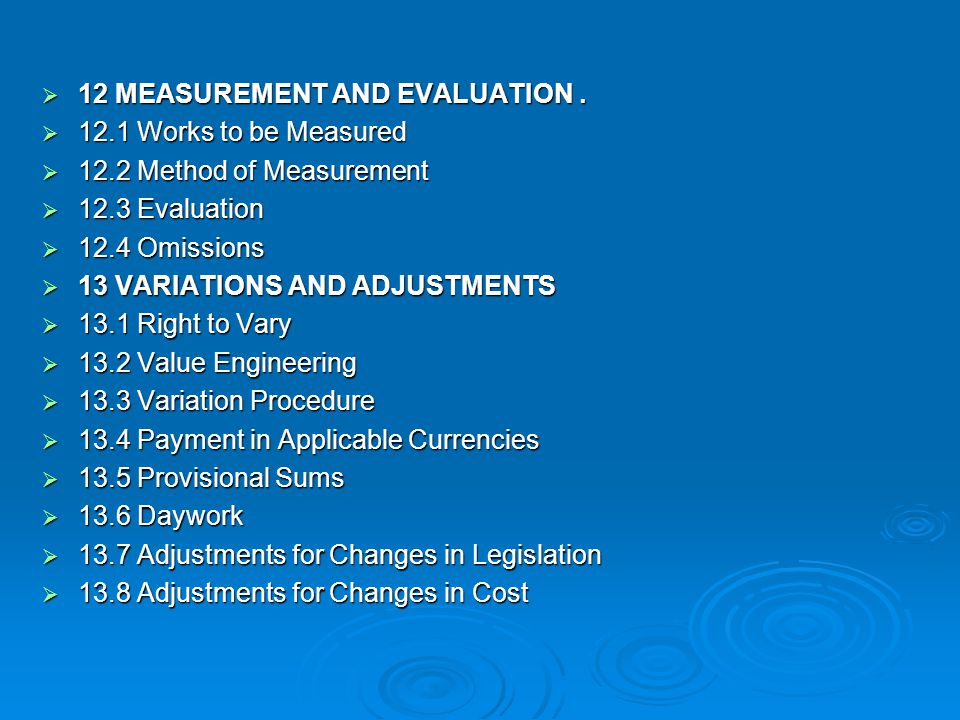 12 MEASUREMENT AND EVALUATION .