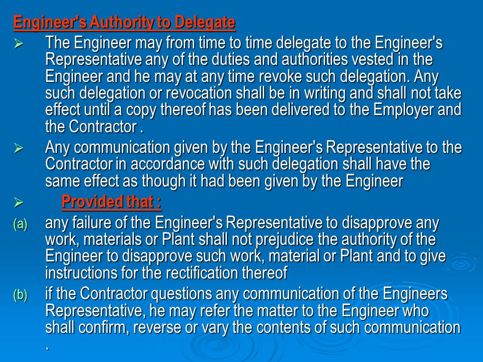 Engineer s Authority to Delegate