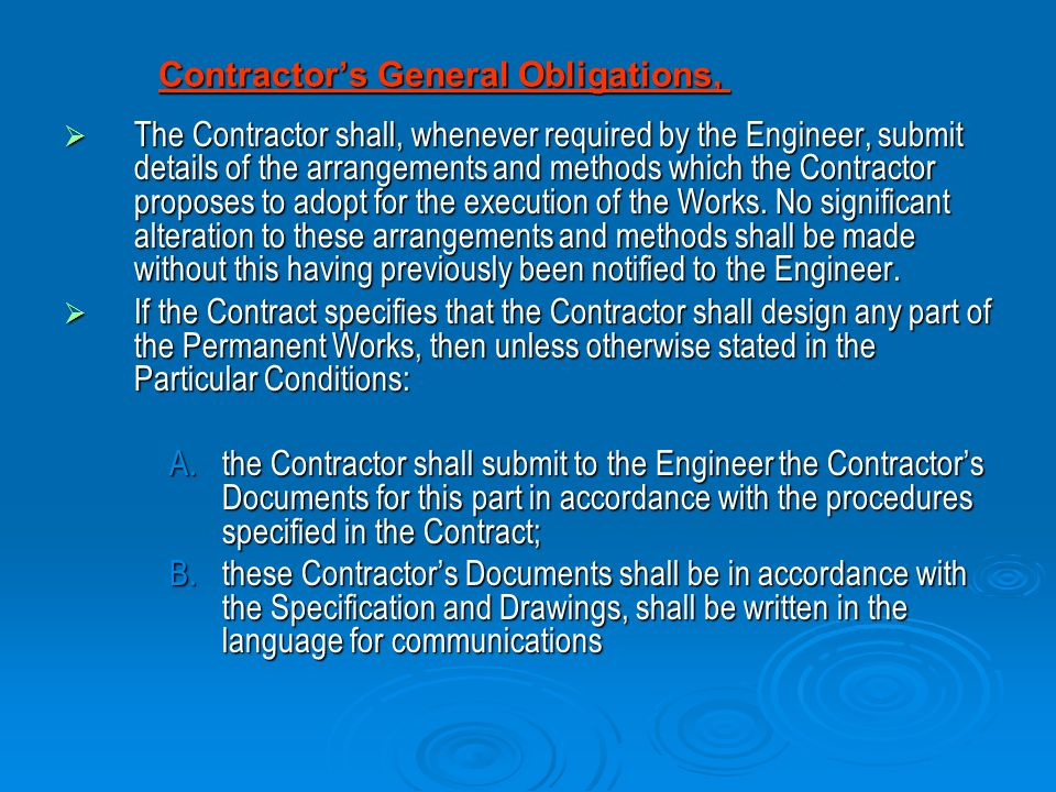 Contractor's General Obligations,