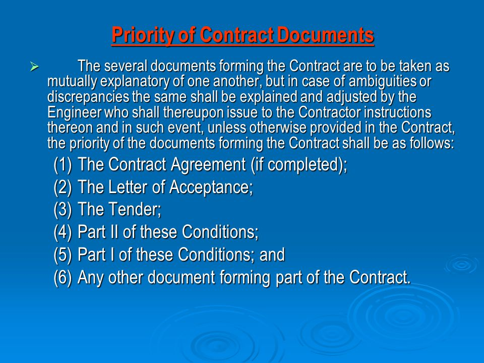 Priority of Contract Documents