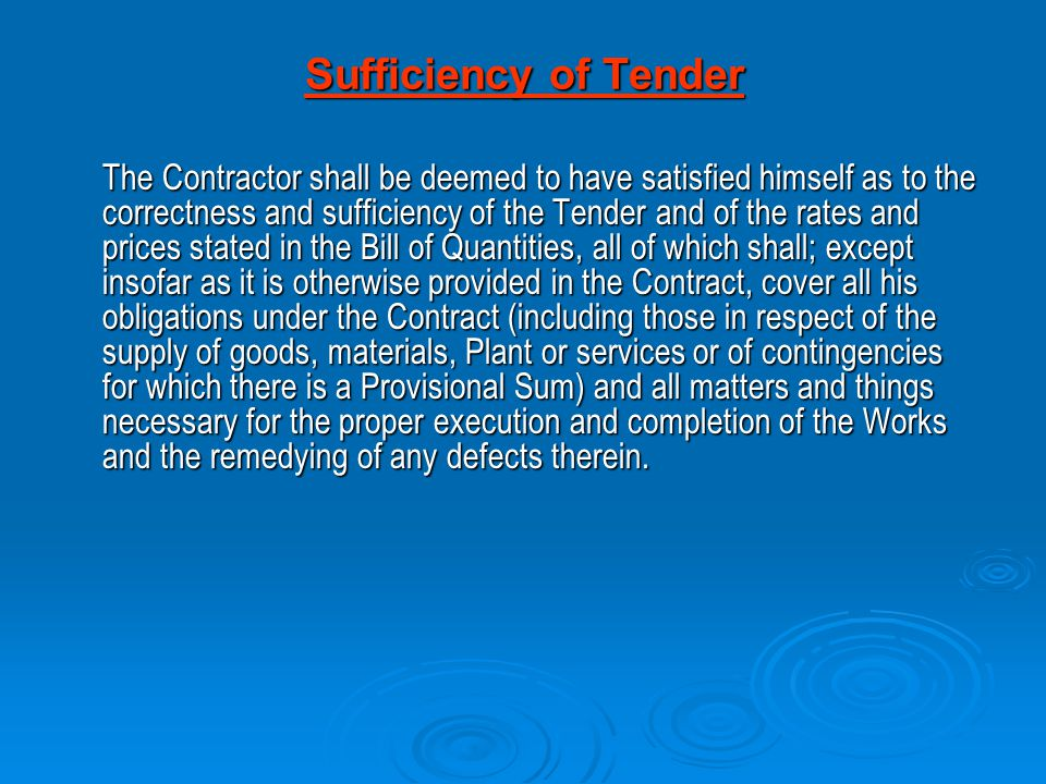 Sufficiency of Tender