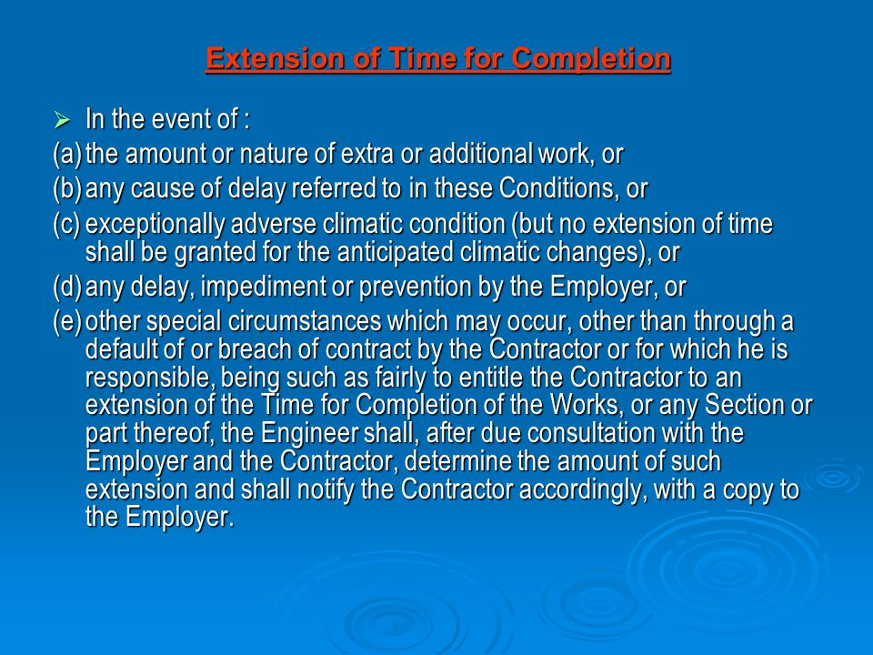 Extension of Time for Completion