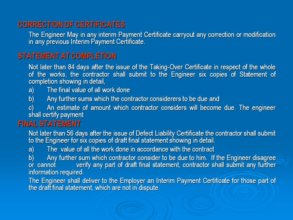 CORRECTION OF CERTIFICATES