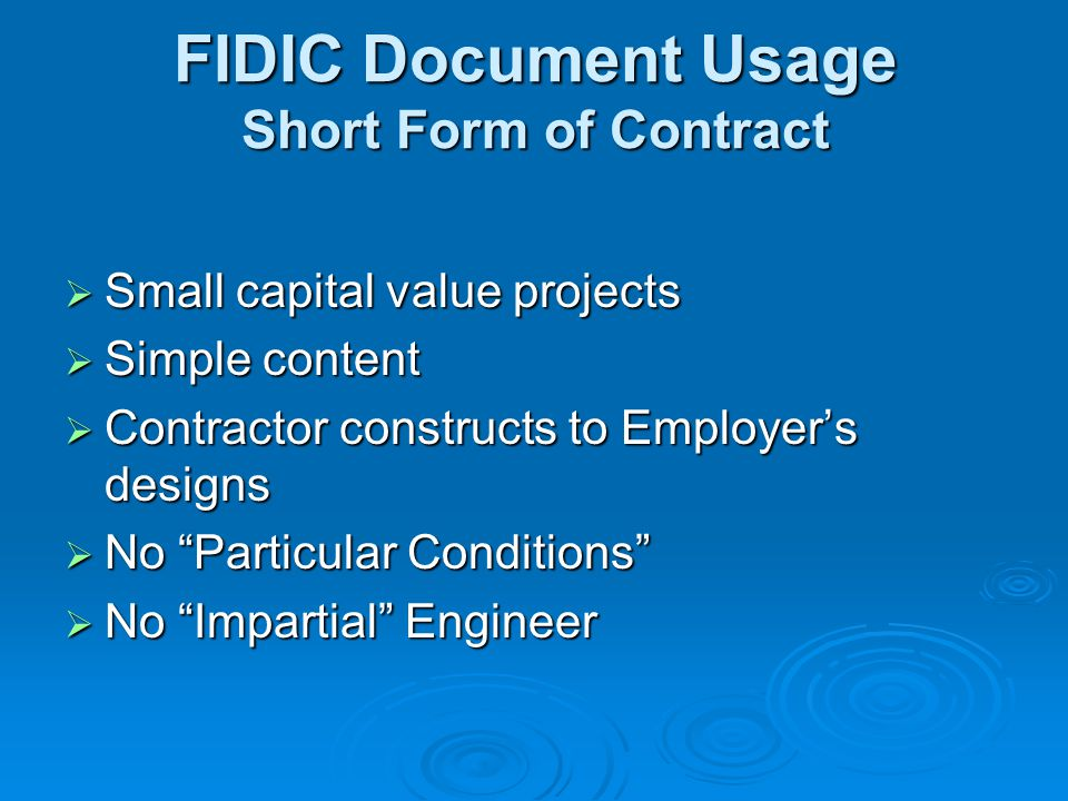 FIDIC Document Usage Short Form of Contract