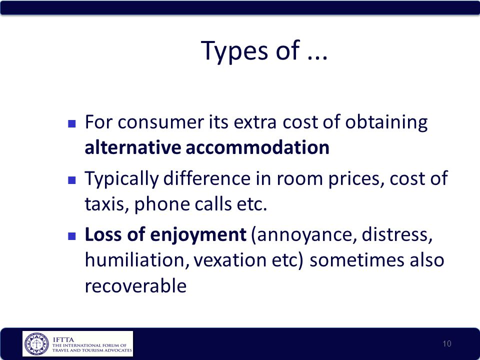 Types of ... For consumer its extra cost of obtaining alternative accommodation.