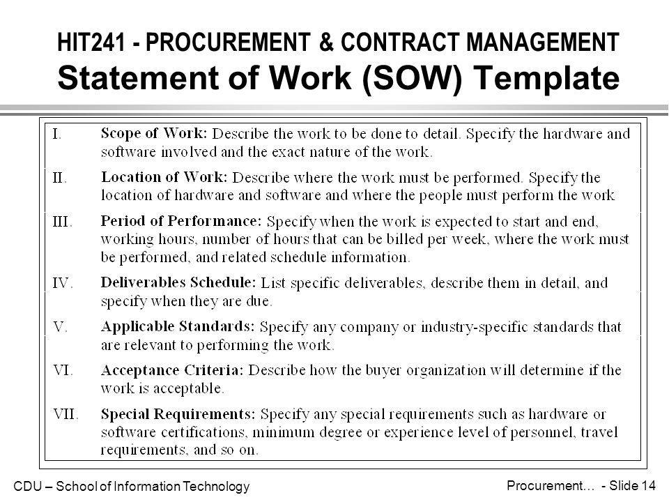HIT241 - PROCUREMENT & CONTRACT MANAGEMENT Statement of Work (SOW) Template