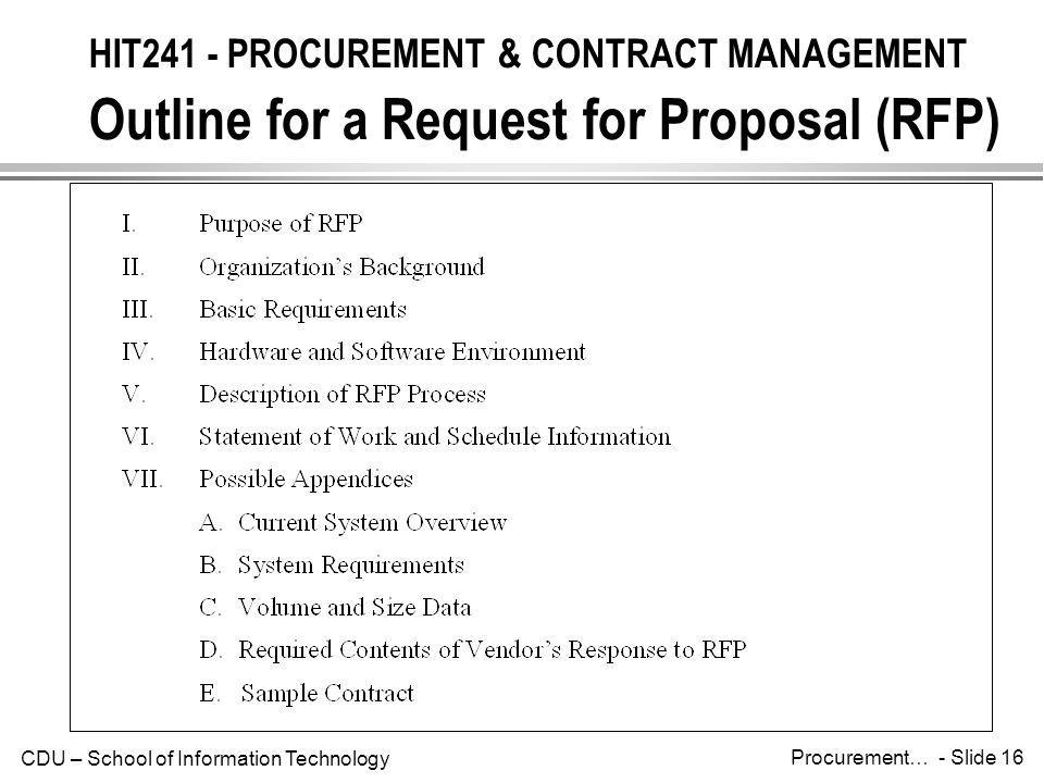 HIT241 - PROCUREMENT & CONTRACT MANAGEMENT Outline for a Request for Proposal (RFP)