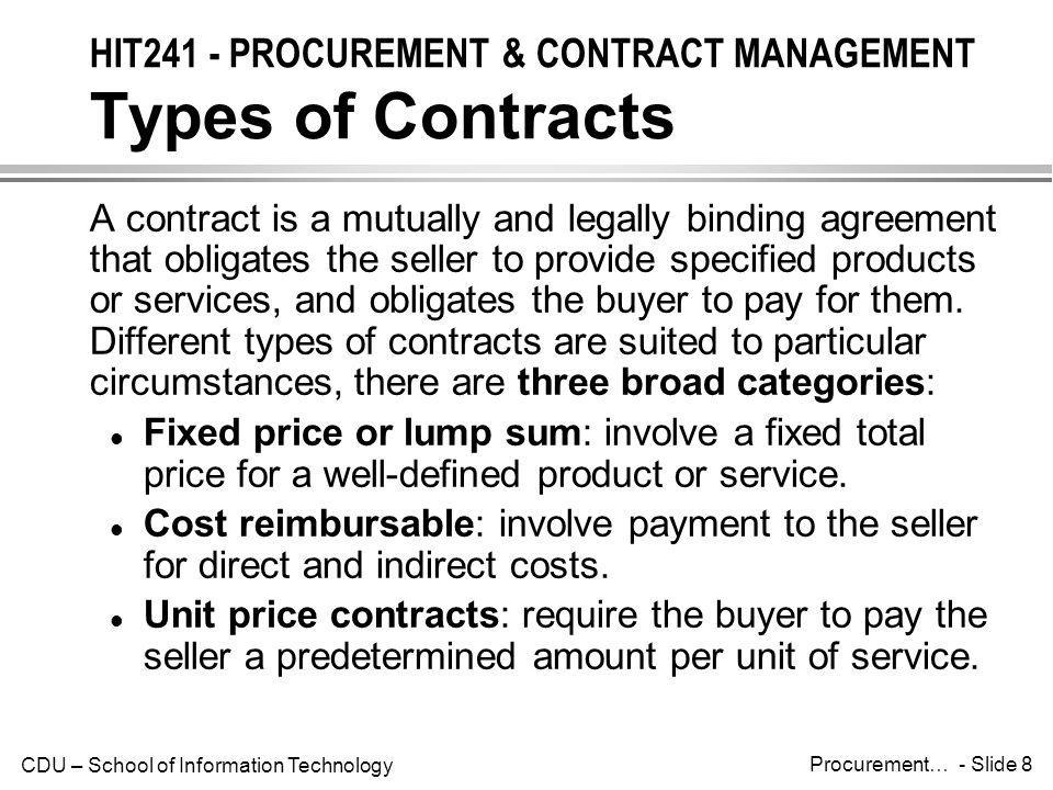 HIT241 - PROCUREMENT & CONTRACT MANAGEMENT Types of Contracts