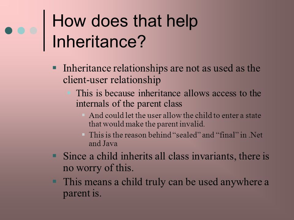 How does that help Inheritance
