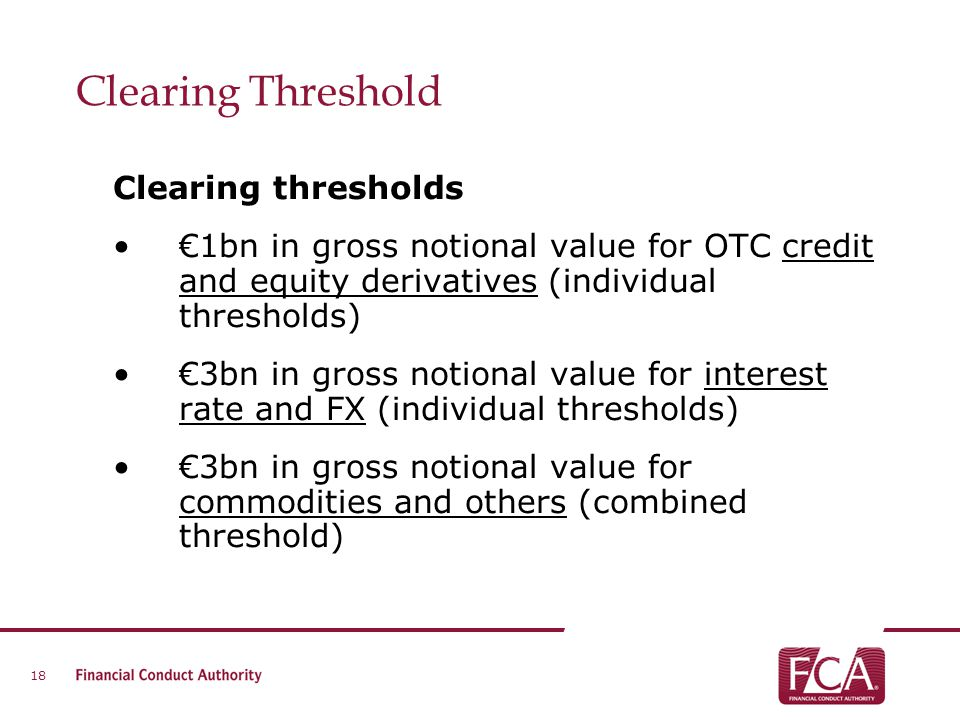 Clearing Threshold Clearing thresholds