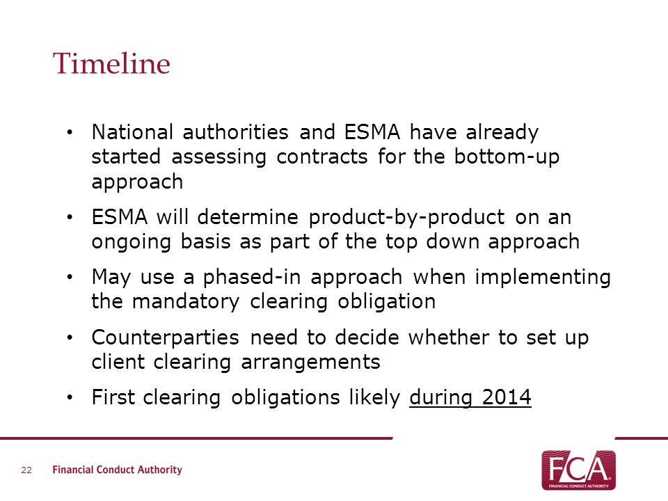 Timeline National authorities and ESMA have already started assessing contracts for the bottom-up approach.