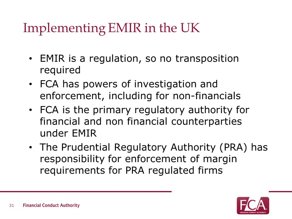 Implementing EMIR in the UK