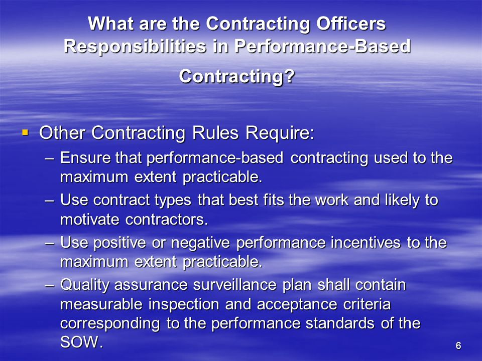 Other Contracting Rules Require: