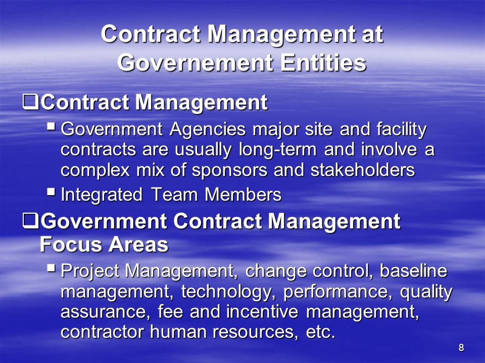 Contract Management at Governement Entities