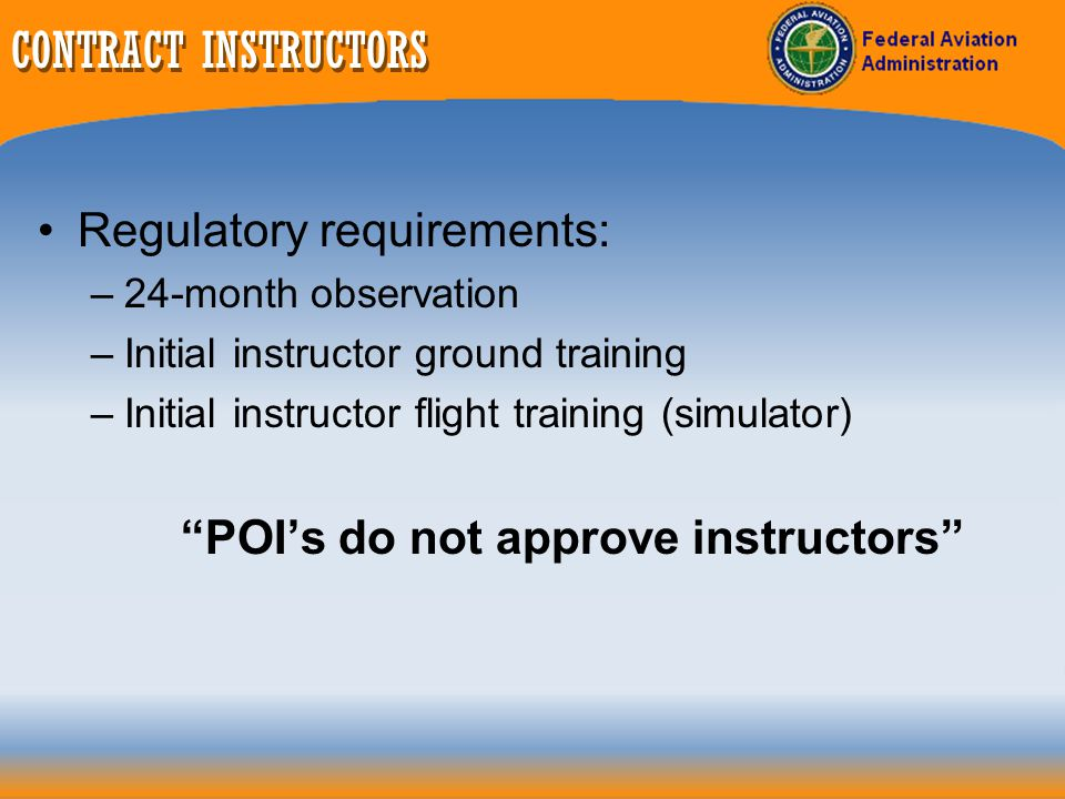 POI's do not approve instructors