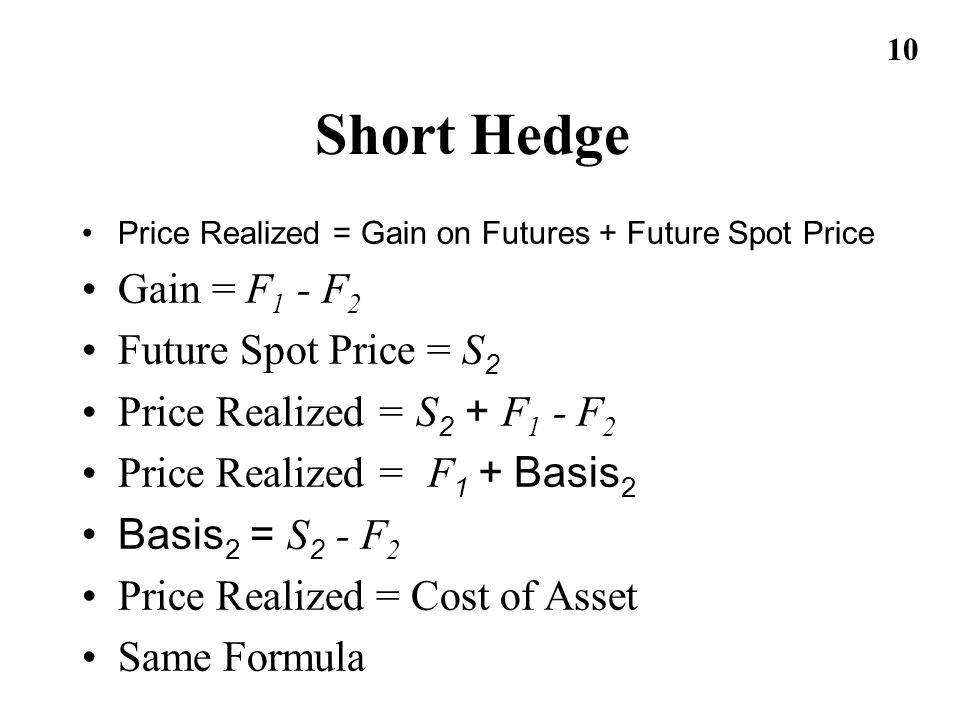 Short Hedge Gain = F1 - F2 Future Spot Price = S2