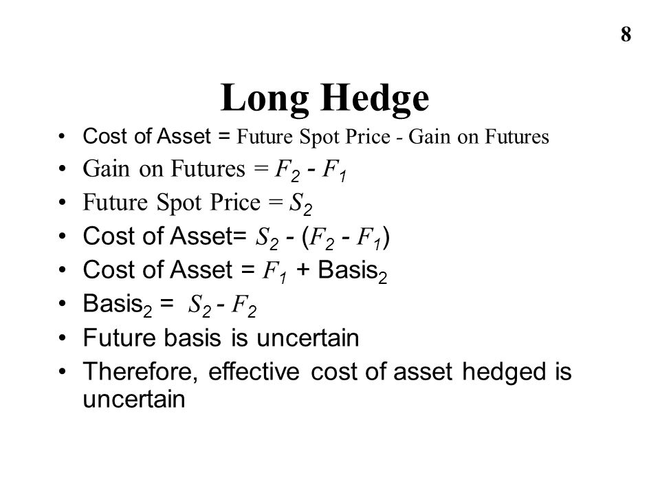 Long Hedge Gain on Futures = F2 - F1 Future Spot Price = S2