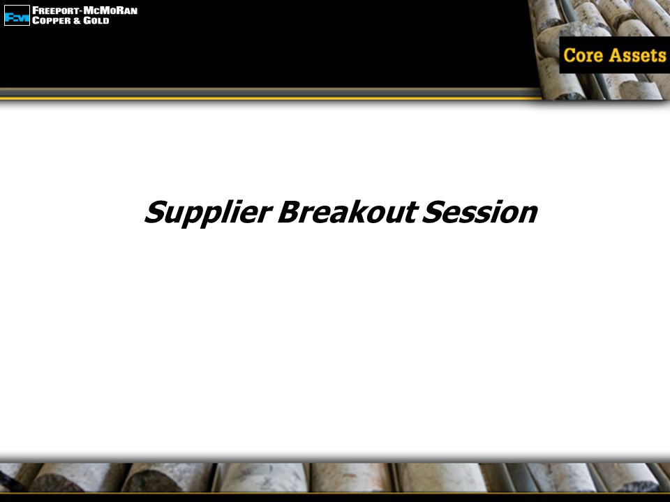 Supplier Breakout Session