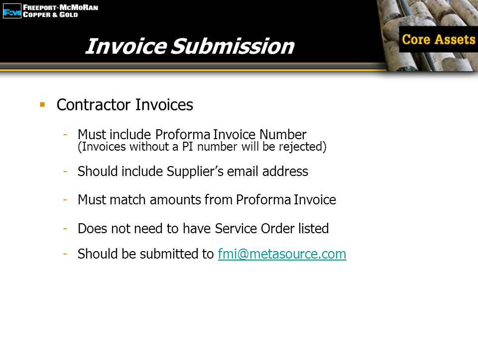 Invoice Submission Contractor Invoices