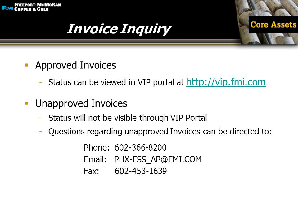 Invoice Inquiry Approved Invoices Unapproved Invoices