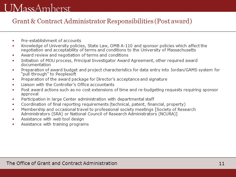 Grant & Contract Administrator Responsibilities (Post award)