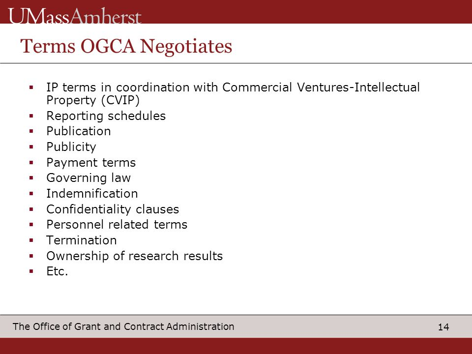 Terms OGCA Negotiates IP terms in coordination with Commercial Ventures-Intellectual Property (CVIP)
