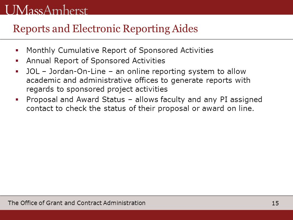 Reports and Electronic Reporting Aides