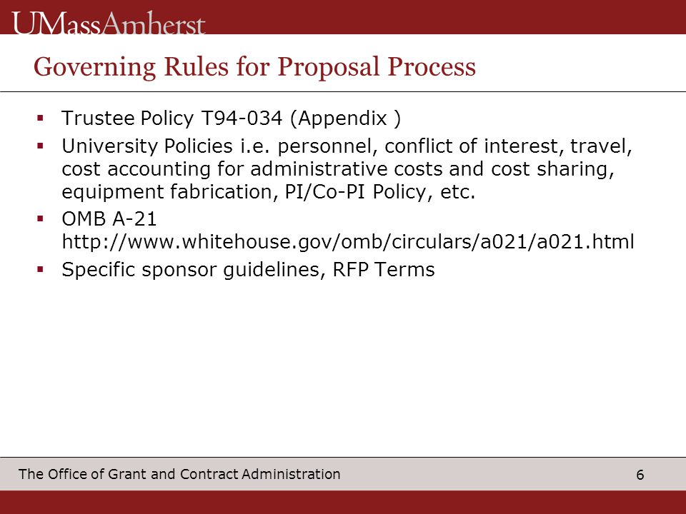 Governing Rules for Proposal Process