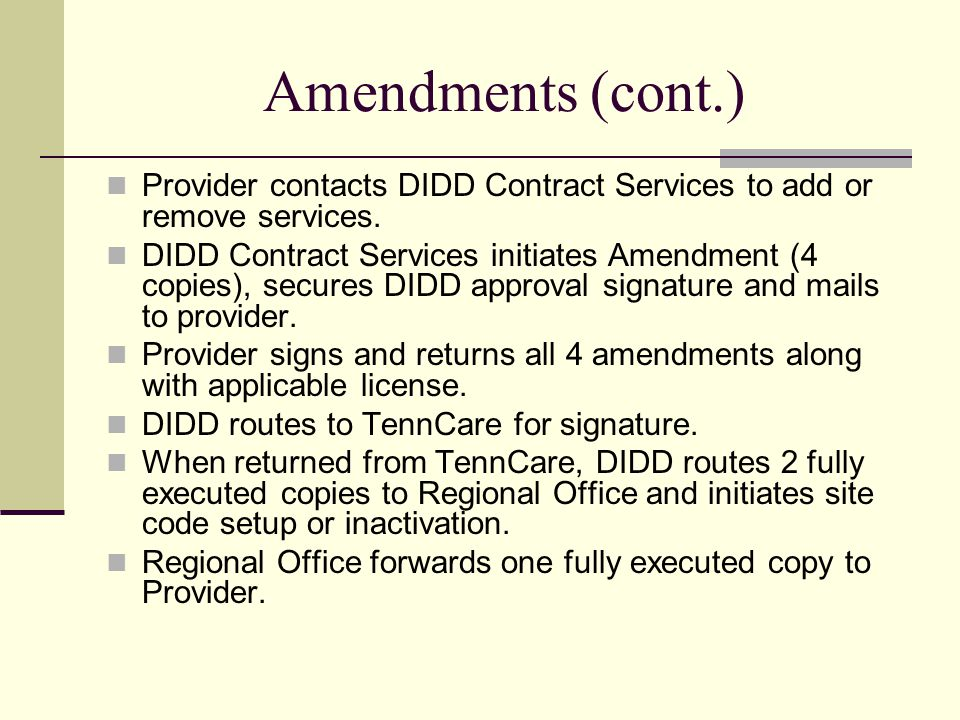 Amendments (cont.) Provider contacts DIDD Contract Services to add or remove services.