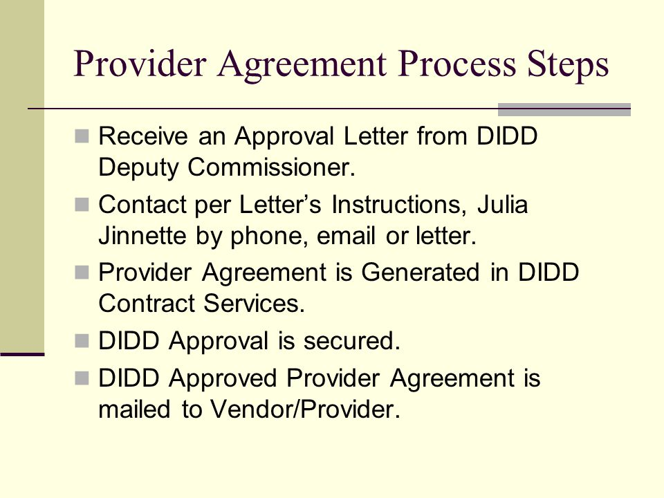 Provider Agreement Process Steps