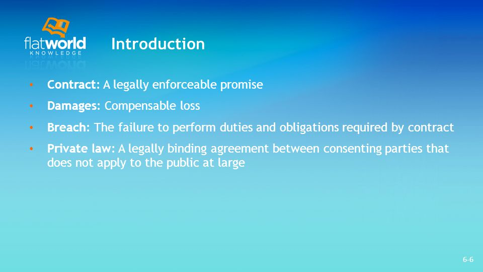 Introduction Contract: A legally enforceable promise