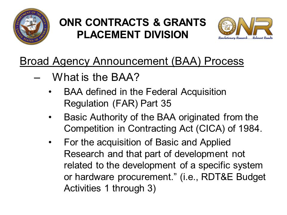 ONR CONTRACTS & GRANTS PLACEMENT DIVISION