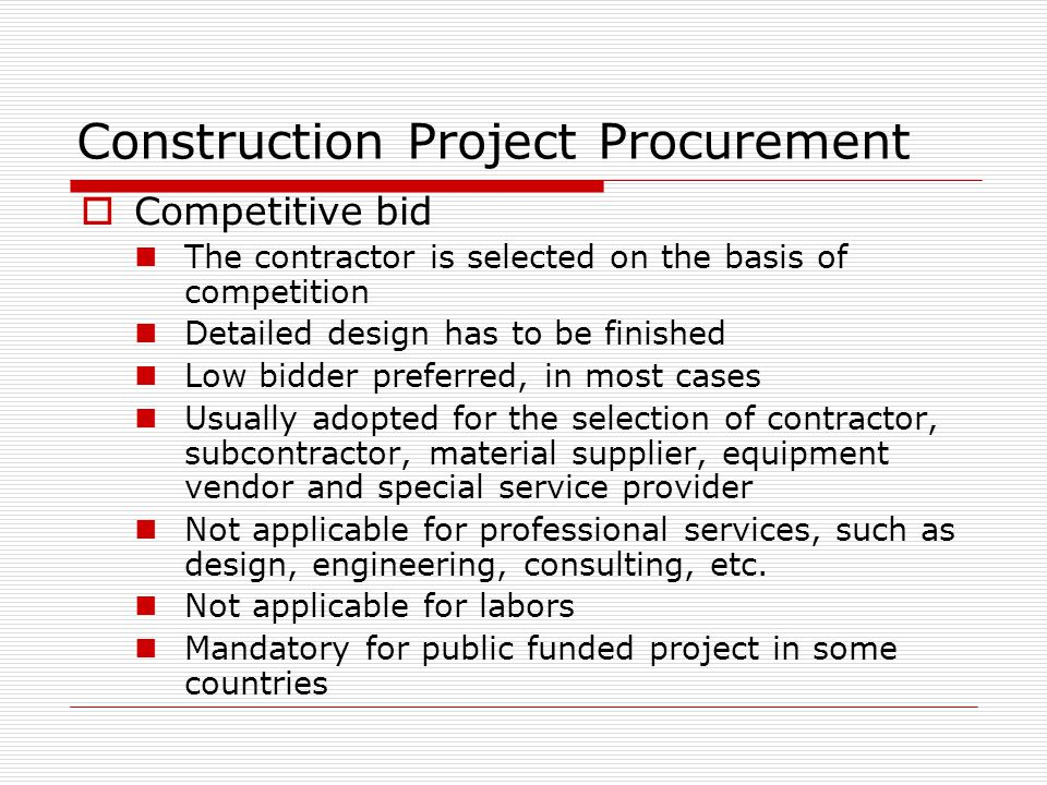 Project Procurement & Contract Administration Jiwei Ma