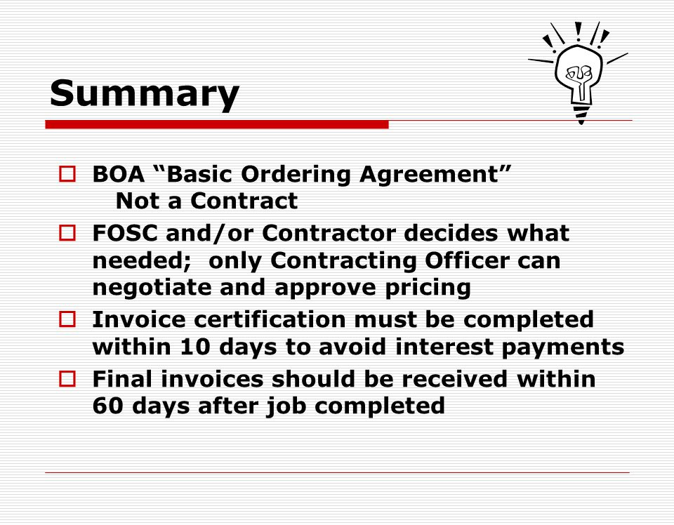 Summary BOA Basic Ordering Agreement Not a Contract