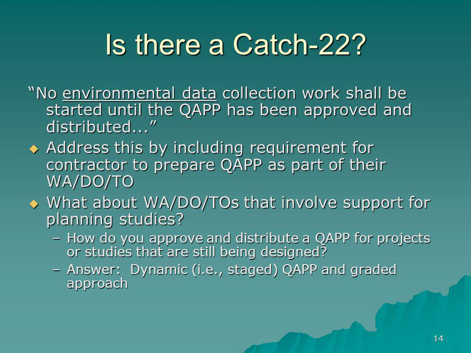Is there a Catch-22 No environmental data collection work shall be started until the QAPP has been approved and distributed...