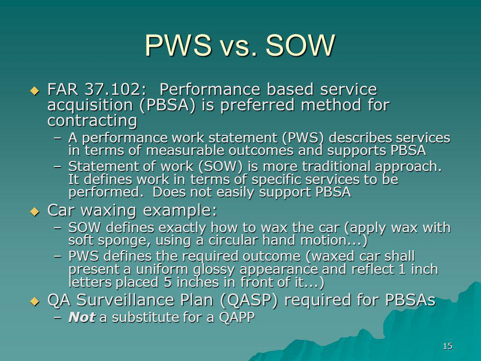 PWS vs. SOW FAR 37.102: Performance based service acquisition (PBSA) is preferred method for contracting.