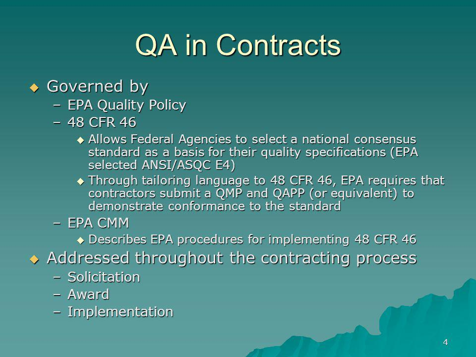 QA in Contracts Governed by
