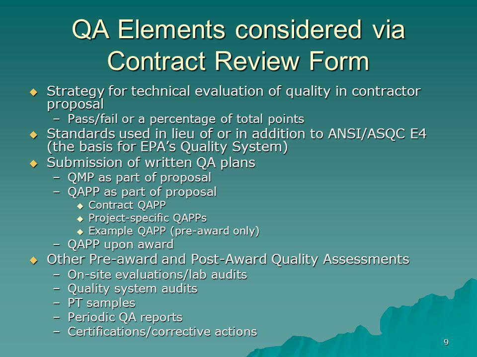 QA Elements considered via Contract Review Form