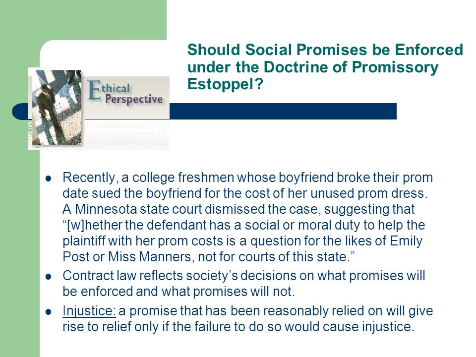 Should Social Promises be Enforced under the Doctrine of Promissory Estoppel