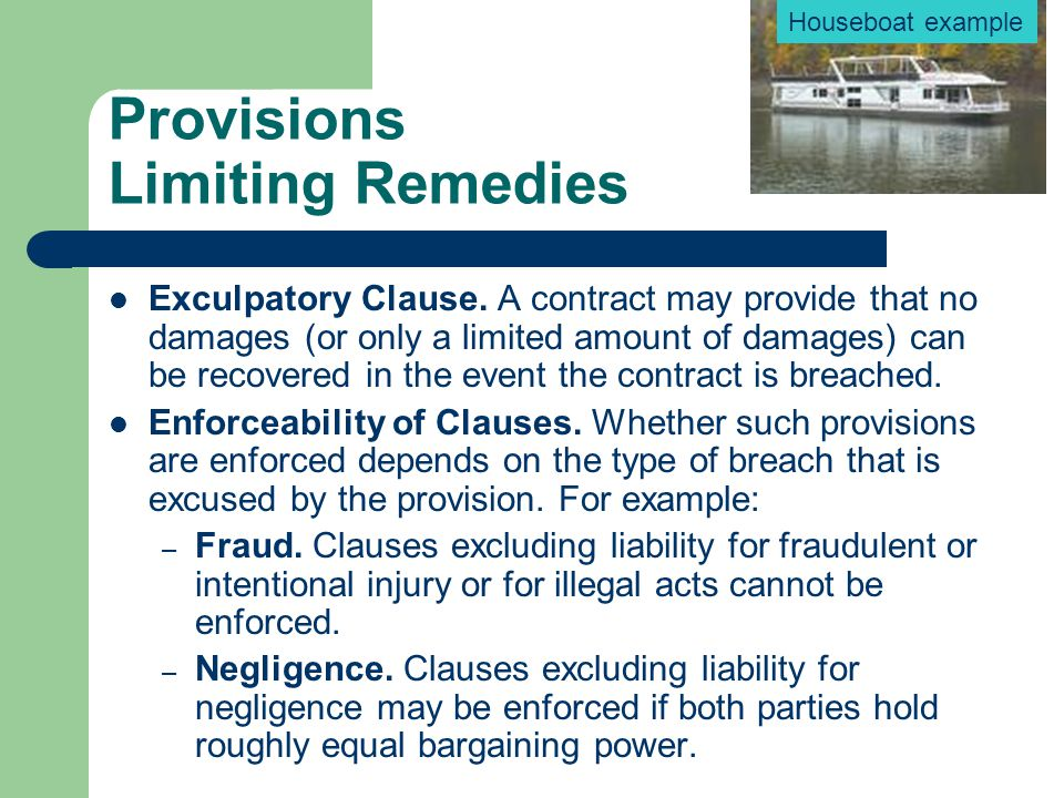 Provisions Limiting Remedies
