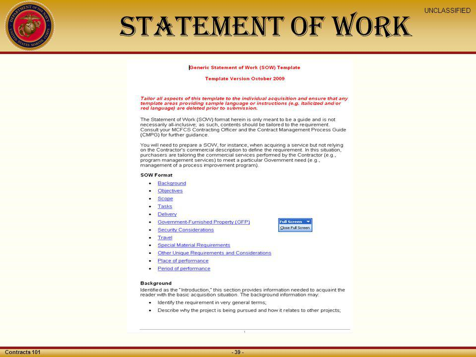 Invoice Templates 2019 » government statement of work template ...