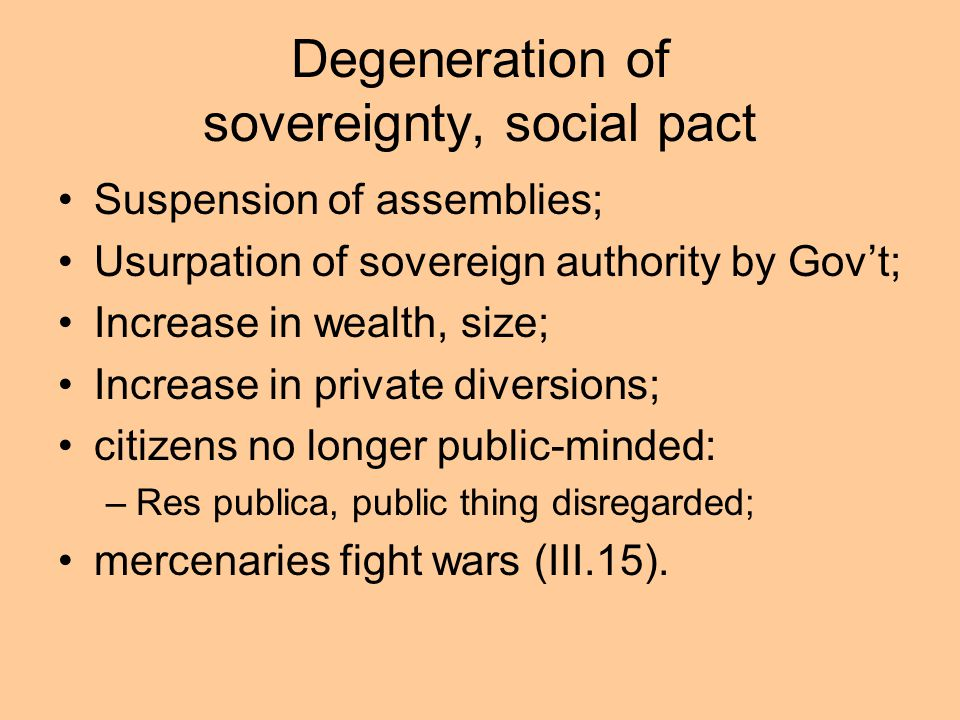 Degeneration of sovereignty, social pact