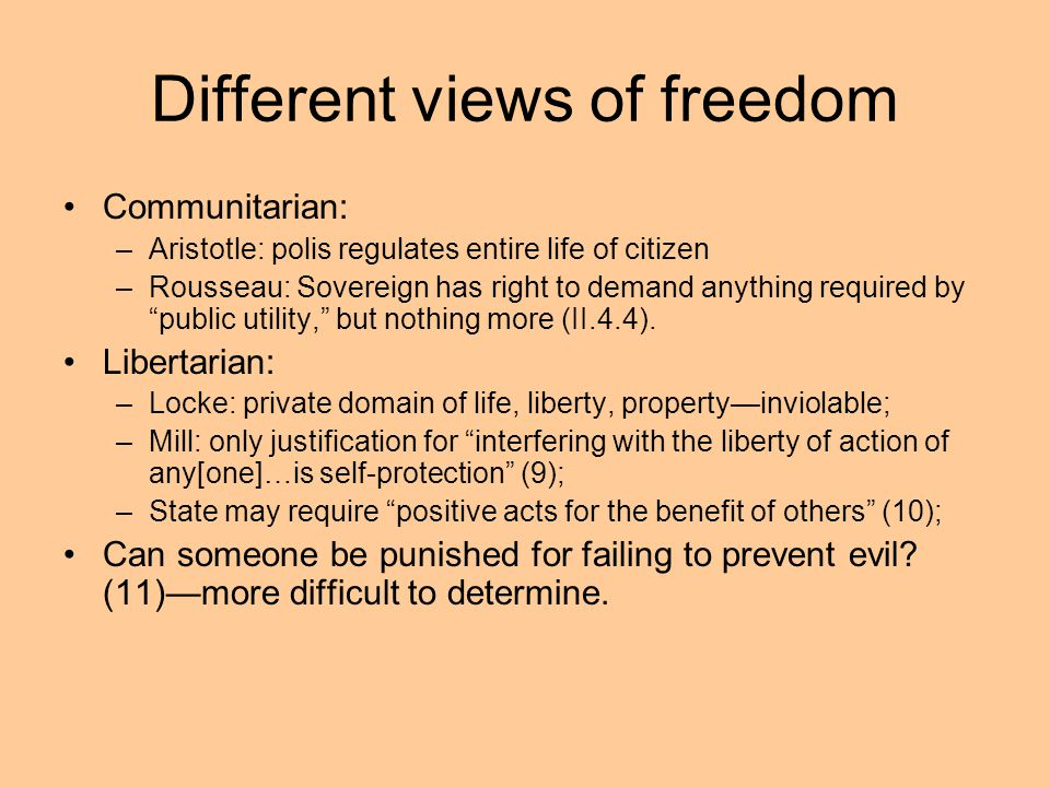 Different views of freedom
